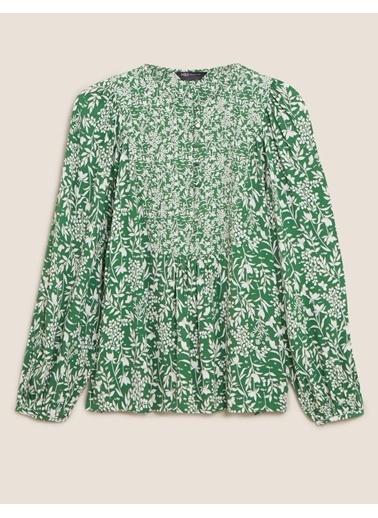 Marks & Spencer Çiçek Desenli Uzun Kollu Bluz Yeşil